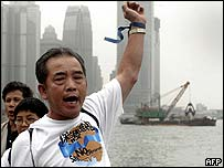 A protester by Hong Kong's harbour