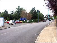 The entrance to Worton Hall Industrial Estate (l)