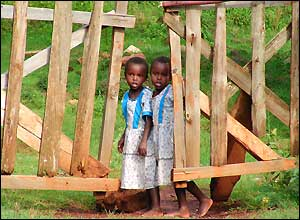 Twin girls stand by a gate in western Kenya