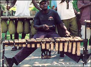A marimba player in Victoria Fall, Zimbabwe