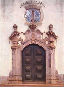 The door to Rainha da Paz cathedral in Namaacha, Mozambique
