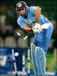 VVS Laxman is bowled by Shoaib Akhtar