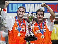 Blackpool goalscorers John Murphy and Danny Coid