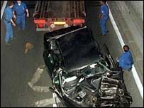 The wreckage after the 1997 Paris crash