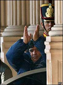 Diego Maradona leaves the presidential palace in Buenos Aires