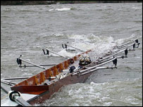 One of the sinking boats