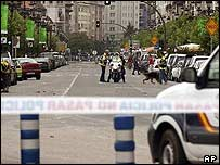 Bomb scene in Santander, Spain, this summer