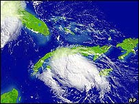 Graphic showing hurricane Charley over Cuba
