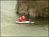 Underwater teams at Dorothea slate quarry