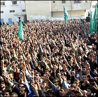 A crowd outside the house of the Hamas spiritual leader 