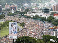 Chavez opposition march through Caracas