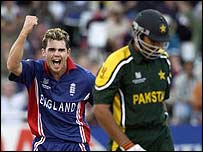 Jimmy Anderson celebrates Inzamam's wicket in the World Cup