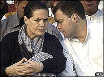 Sonia Gandhi (left) with son, Rahul