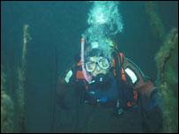 A diver at Dorothea Quarry