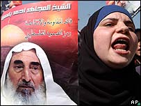 Palestinian woman holds a portrait of the late Hamas spiritual leader Sheikh Ahmed Yassin