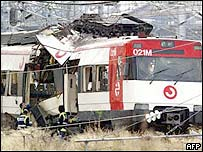 Train wreckage from one of the 11 March 2004 blasts in Madrid