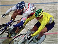 American Marty Nothstein and Australia's Sean Eadie in action at the Sydney Olympics