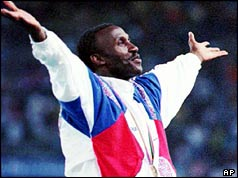 Linford Christie at the Barcelona Olympics in 1992