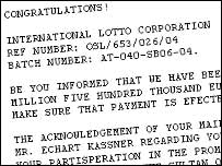 Lottery e-mail