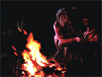Representación del uso del fuego por homínido