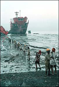 Ship is dragged onto the beach at Alang in India. Pic: Greenpeace