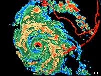 Satellite image showing hurricane Charley approaching  Florida