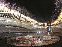 A view of the opening ceremony in the Olympic Stadium