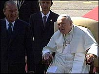 Jacques Chirac (left) with the Pope at Tarbes Airport, France
