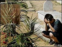 A young Palestinian boy kneels at the grave of Sheikh Yassin in Gaza City