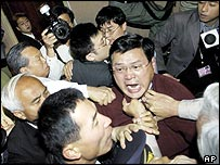 Scuffles in the Taiwanese Parliament