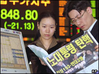 Traders on the Seoul stock market