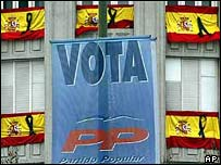 Election banners with flags of mourning