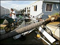 Damage at a trailer park in Punta Gorda