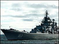 El buque insignia de la Flota del Norte rusa , el