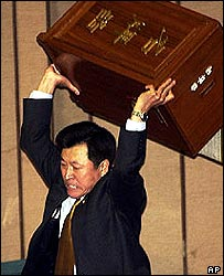 Song Suck-chan, a Uri MP, hurls a ballot box