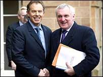Mr Blair and Mr Ahern shake hands at Hillsborough