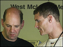 Newey (left) with McLaren's David Coulthard