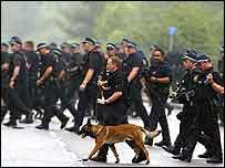 Police dog handlers at Annesley Forest