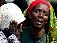 Refugees weeping at the sight of a relative killed