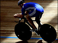 British cyclist Chris Hoy practicing at Athen's velodrome