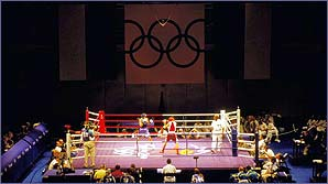 An Olympic boxing ring