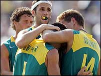 Jamie Dwyer of Australia celebrates with team-mates
