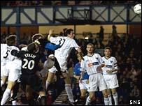 Alan Hutton (hidden) scored Rangers' first