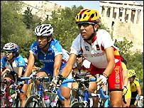 Во время велогонки