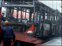 burnt bus