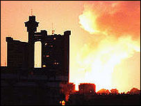Archive picture of Serbia's capital, Belgrade, during a Nato attack