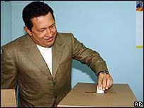 Presidente Hugo Ch�vez durante la jornada electoral