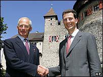 Prince Hans-Adam II (left) with son Prince Alois