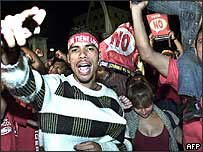 Supporters of President Chavez - Chavistas - celebrate victory outside the presidential palace in Caracas, Venezuela