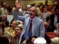 Delegate at Iraqi national conference